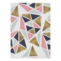 Modern geometrical pink navy blue gold triangles poster