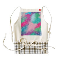 Modern geometrical pink pastel watercolor pattern zazzle HEART apron