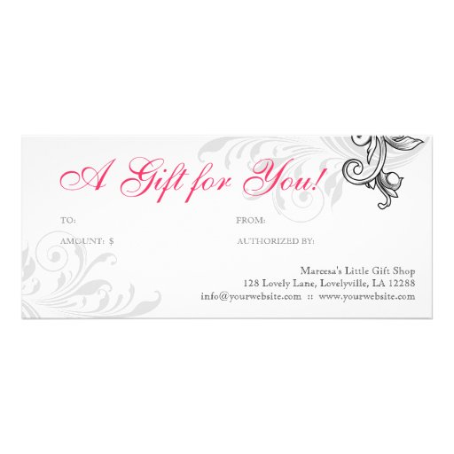 Modern Gift Certificate Retail Floral Coral W Rack Card Template