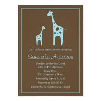 Modern Giraffe Baby Shower Invitation - Boy