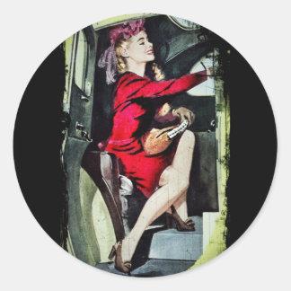 Modern Girl in Nylons Classic Round Sticker