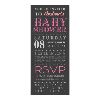 """Modern Girl Pink Typography Baby Shower Long 4"""" X 9.25"""" Invitation Card"""