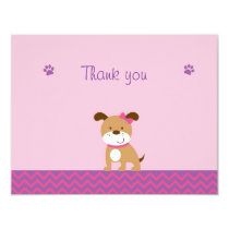 Modern Girl Puppy Flat Thank You Note Cards