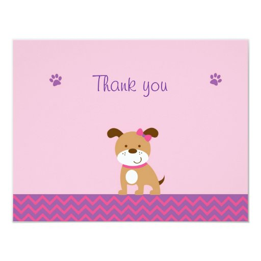 Modern Girl Puppy Flat Thank You Note Cards Personalized Invitations