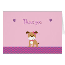 Modern Girl Puppy Thank You Note Cards