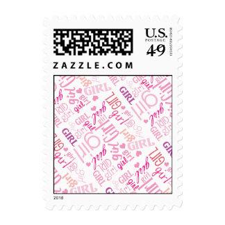 Modern GIRL Typography Baby Shower Postage Stamp