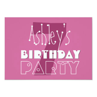 Modern Girls 7th Birthday Pink Stars Ver 002 W677 5x7 Paper Invitation Card