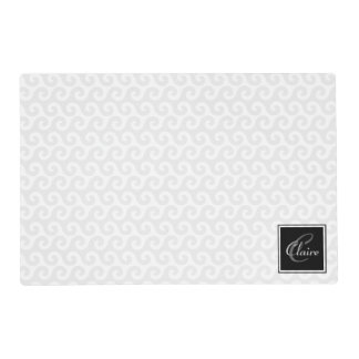 Modern Girl's Monogram Silver White Waves Pattern Placemat