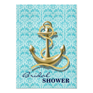 modern girly anchor damask nautical bridal shower custom invites