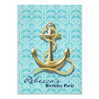 modern girly anchor teal damask nautical birthday invites
