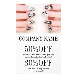 "modern girly beauty nail artist nail salon 5.5"" x 8.5"" flyer"