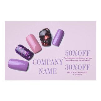 "modern girly beauty salon purple nail artist 5.5"" x 8.5"" flyer"