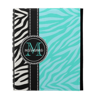 Modern Girly Black Aqua Zebra Print Personalized iPad Folio Covers