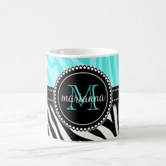 Modern Girly Black Aqua Zebra Print Personalized Coffee Mug