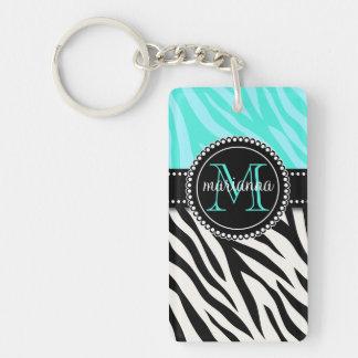 Modern Girly Black Aqua Zebra Print Personalized Acrylic Keychain