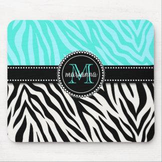 Modern Girly Black Aqua Zebra Print Personalized Mouse Pad