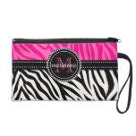 Modern Girly Black Pink Zebra Print Personalized Wristlets