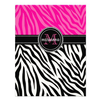 Modern Girly Black Pink Zebra Print Personalized Custom Announcements