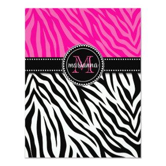 Modern Girly Black Pink Zebra Print Personalized Custom Announcements