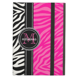 Modern Girly Black Pink Zebra Print Personalized iPad Cover
