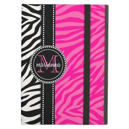 Modern Girly Black Pink Zebra Print Personalized iPad Cover