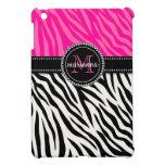 Modern Girly Black Pink Zebra Print Personalized Cover For The iPad Mini