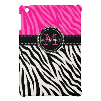 Modern Girly Black Pink Zebra Print Personalized Cover For The iPad Mini
