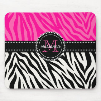 Modern Girly Black Pink Zebra Print Personalized Mouse Pad
