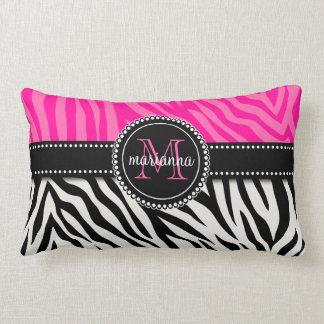 Modern Girly Black Pink Zebra Print Personalized Pillow