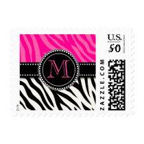 Modern Girly Black Pink Zebra Print Personalized Postage