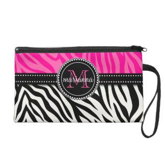 Modern Girly Black Pink Zebra Print Personalized Wristlet Purse