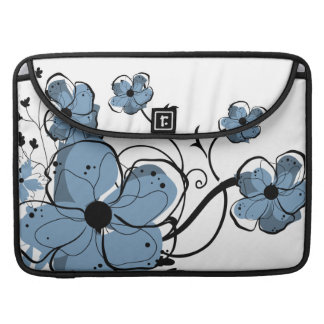 Modern Girly Blue and Black Flowers MacBook Pro Sleeve
