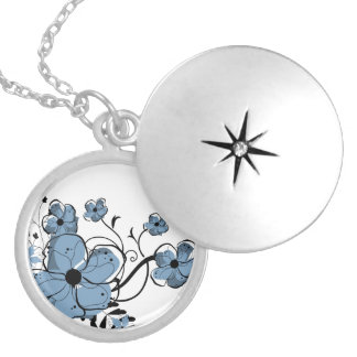 Modern Girly Blue and Black Flowers Round Locket Necklace