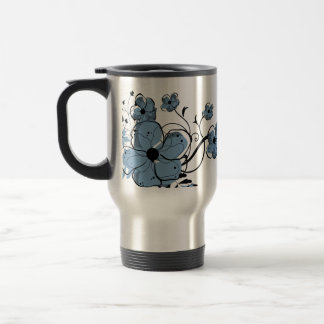 Modern Girly Blue and Black Flowers Travel Mug