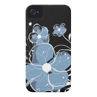 Modern Girly Blue and White Flowers iPhone 4 Case-Mate Cases