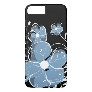 Modern Girly Blue and White Flowers iPhone 7 Plus Case