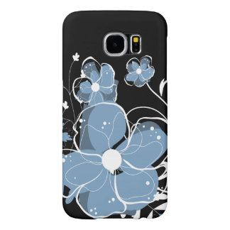 Modern Girly Blue and White Flowers Samsung Galaxy S6 Case