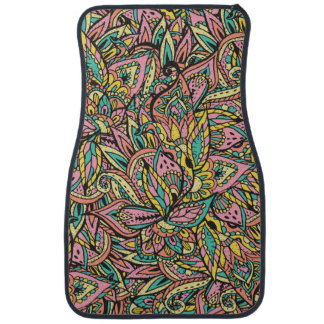 Modern girly boho botanical floral paisley pattern car floor mat