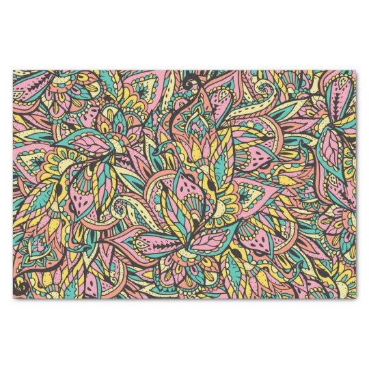 Pink Turquoise Girly Chic Floral Paisley Pattern Rug By: Modern Girly Boho Botanical Floral Paisley Pattern Tissue