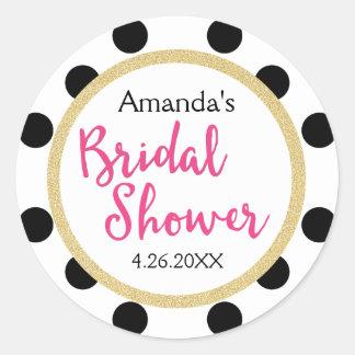 Modern Girly Chic Bridal Shower Classic Round Sticker