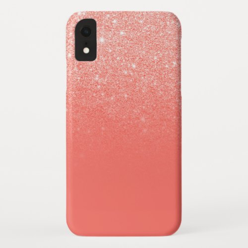 Modern girly chic coral glitter ombre color block Phone Case