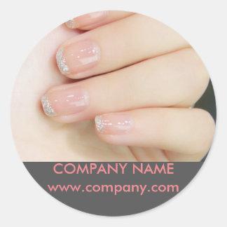 modern girly fashion beauty salon nail artist classic round sticker