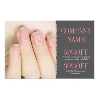 "modern girly fashion beauty salon nail artist 5.5"" x 8.5"" flyer"