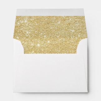 Modern girly faux gold glitter marble pattern envelope