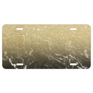 Modern girly faux gold glitter marble pattern license plate