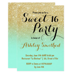 Modern girly faux gold glitter mint green Sweet 16 Card