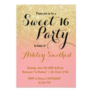 Modern girly faux gold glitter pink Sweet 16 Card