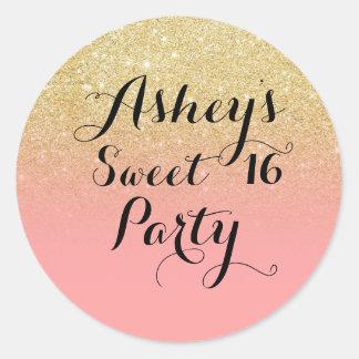 Modern girly faux gold glitter pink Sweet 16 Classic Round Sticker