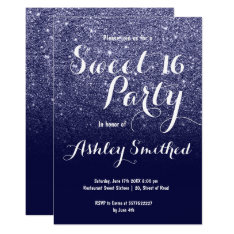 Modern Girly Faux Navy Blue Glitter Ombre Sweet 16 Card at Zazzle