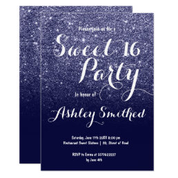 Modern girly faux navy blue glitter ombre Sweet 16 Card